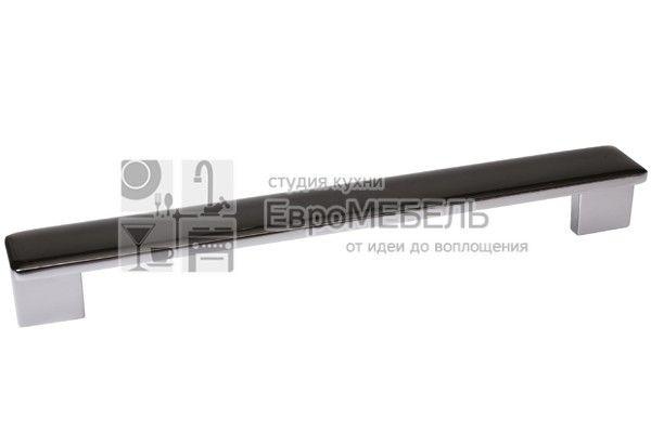 217.374-96036602 Ручка-скоба 192-224мм, отделка хром глянец + дымчато-серая смола