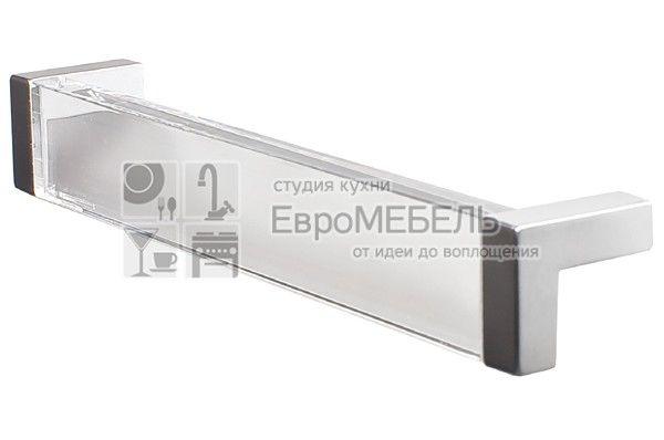8.1082.0160.45-93 Ручка-скоба 160мм, отделка хром матовый + транспарент прозрачный