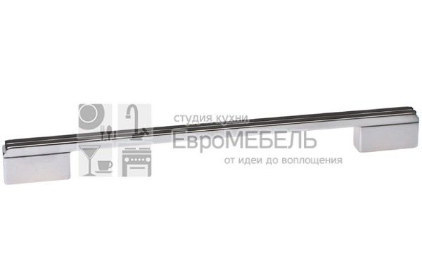 8.1092.224192.40-53 Ручка-скоба 224-192мм, отделка хром глянец + чёрный глянец