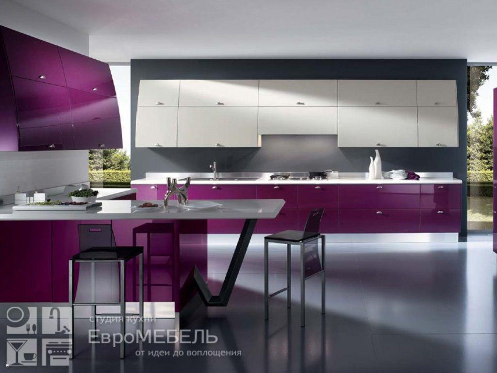 Пластиковая пурпурная кухня