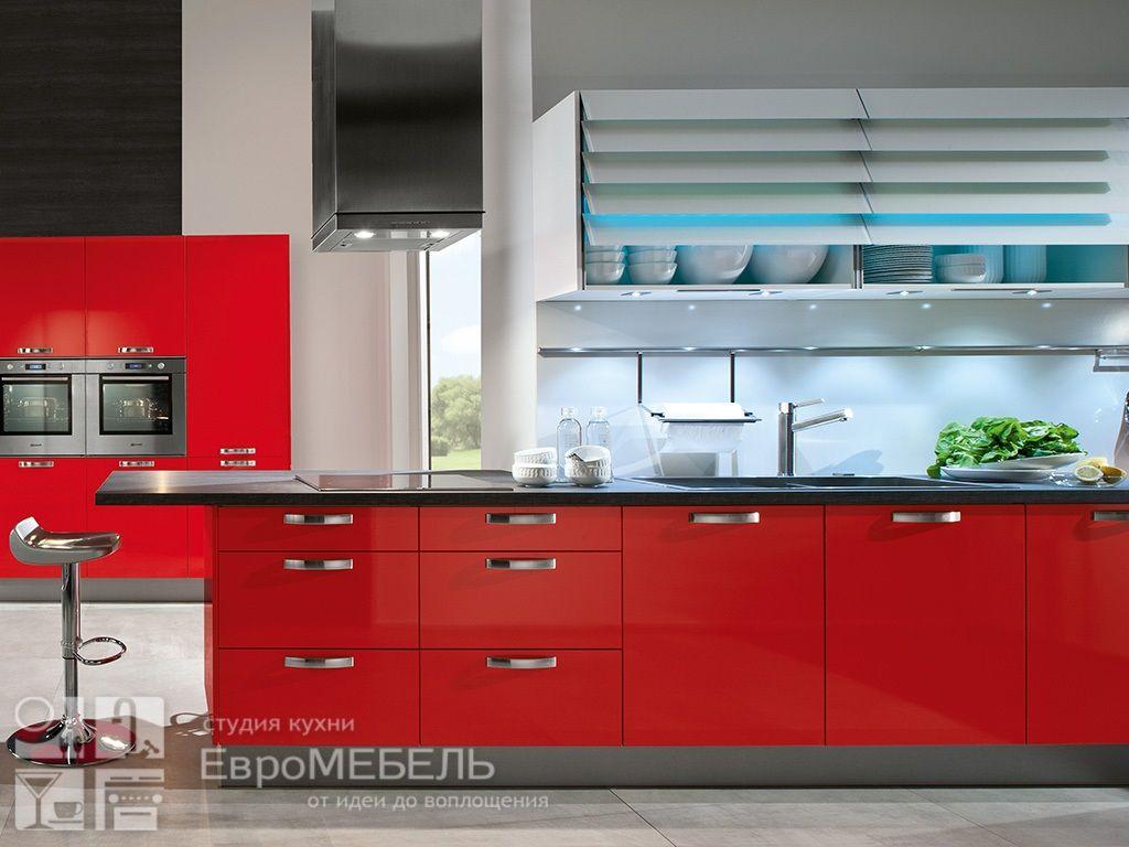 Красная кухня модерн
